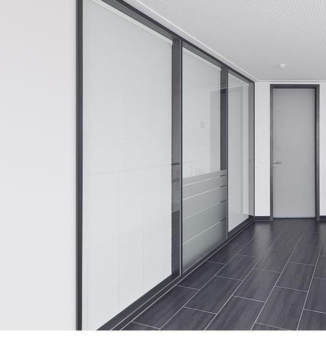 Türen, Glastrennwand, Wand, Boden, weiß, grau